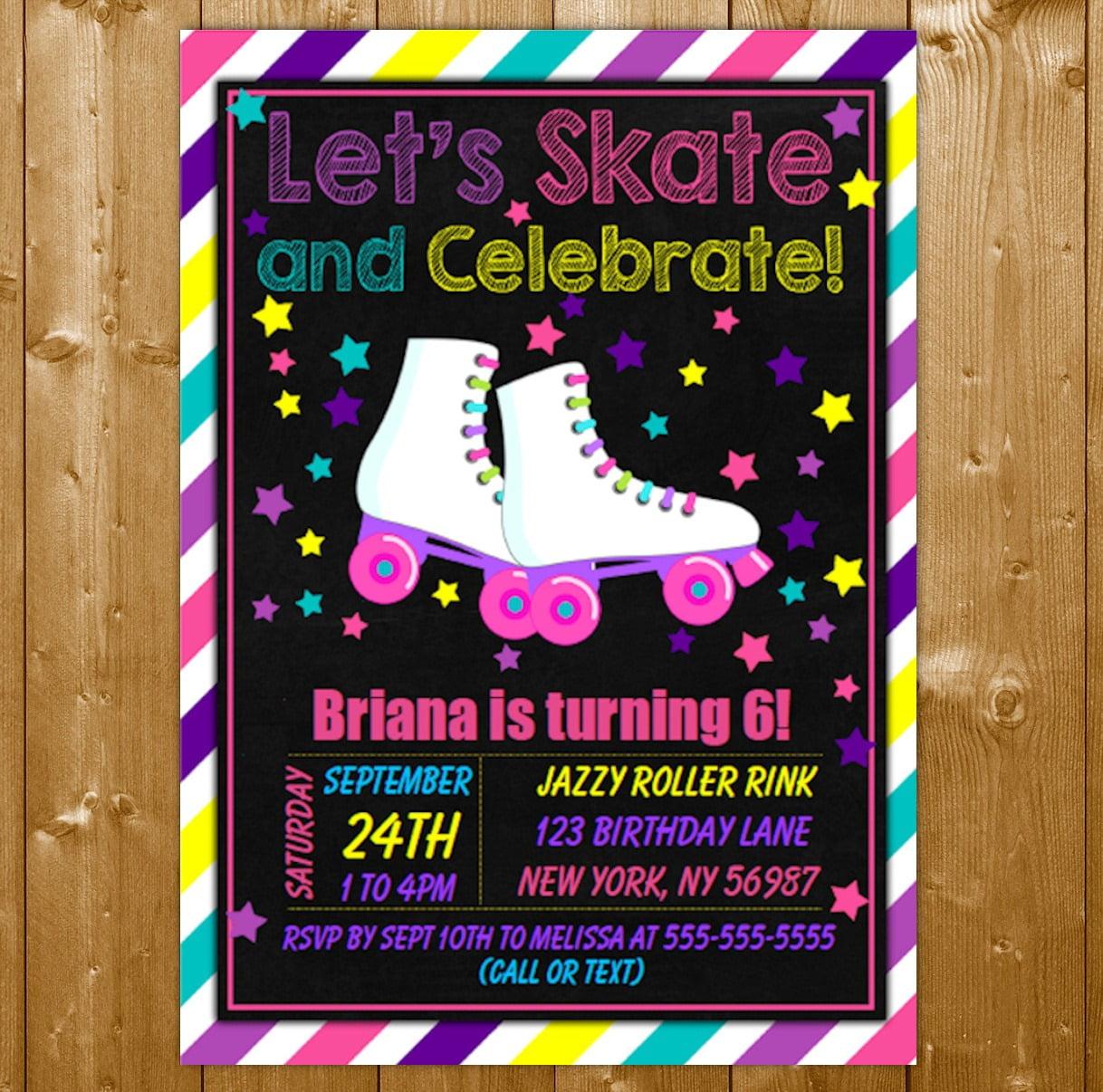 Roller Skating Party Invitation Printable Digital Download