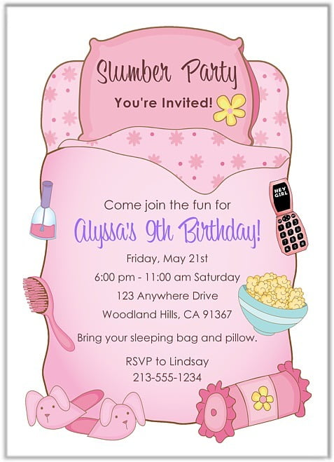 Sleepover Birthday Invitations Vintage With Sleepover Birthday