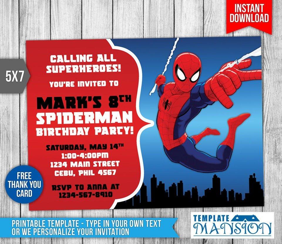 Spiderman Invitation Birthday Invitation Psd By Templatemansion