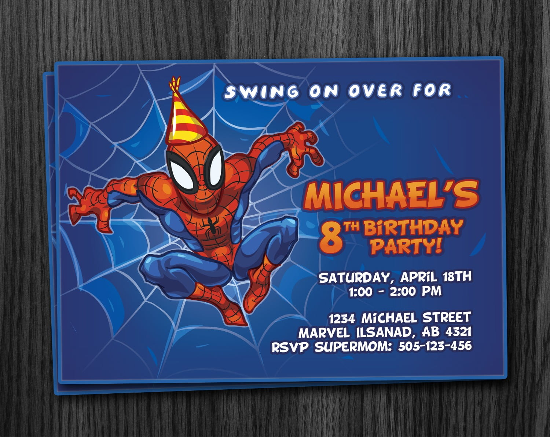 Spiderman Birthday Invitation Printable Download
