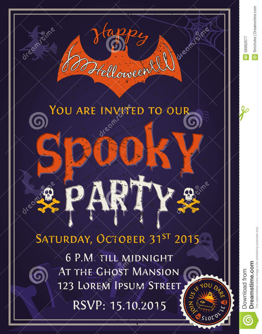 Spooky Halloween Party Invitation Card Design Stock Vector