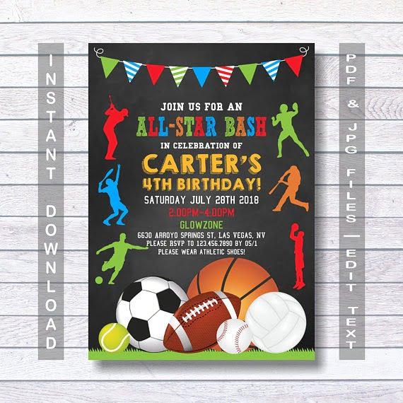 Sports Birthday Invitations Cute Sports Party Invitations