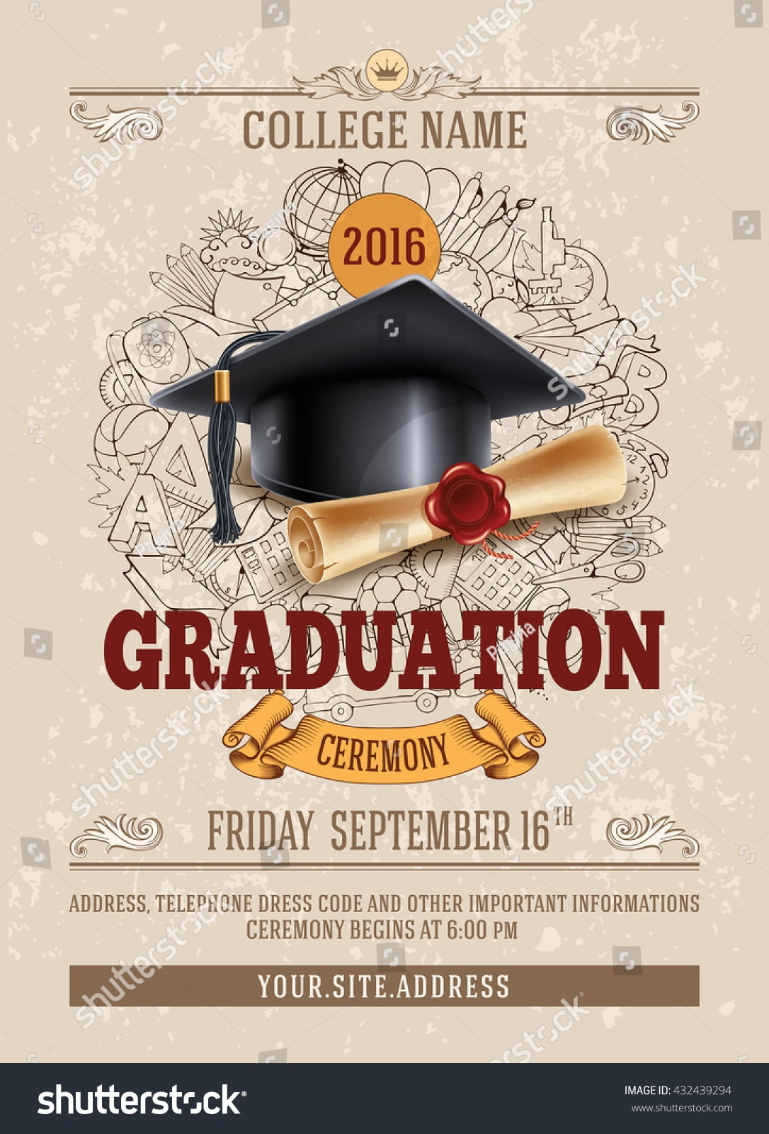 Vector Template Announcement Invitation Graduation Ceremony Stock
