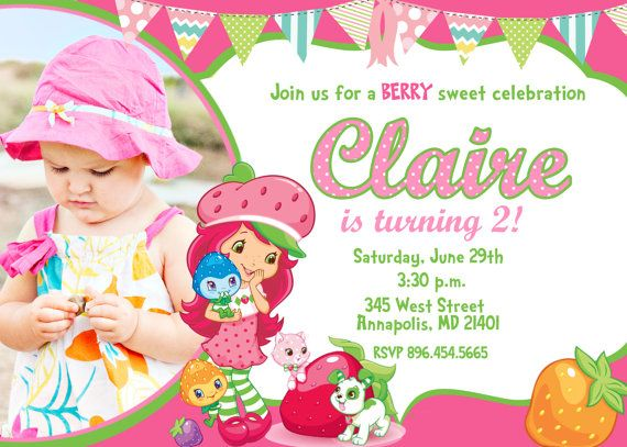 Great Strawberry Shortcake Birthday Invitations Free Printable