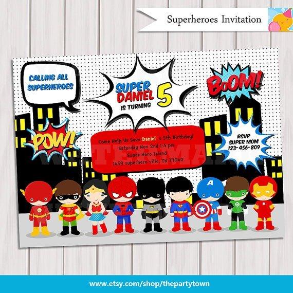 Invitation Ideas  Superhero Birthday Invitations Printable