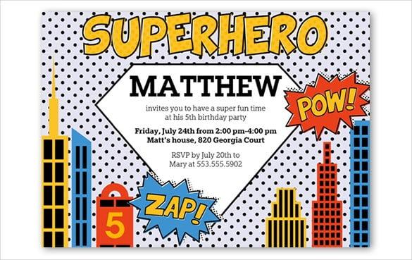 Superhero Birthday Invitations Templates Free Trend With Superhero