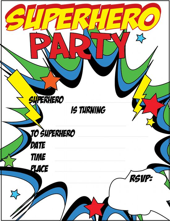 Superhero Birthday Invitations Templates Free Unique With