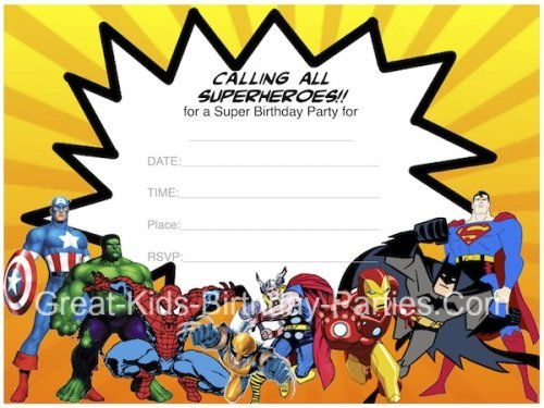 Superhero Birthday Invitations Templates Free Vintage With