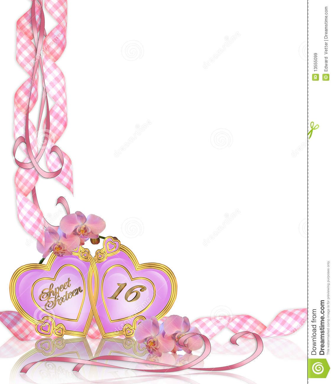 Sweet 16 Birthday Invitation Border Stock Illustration