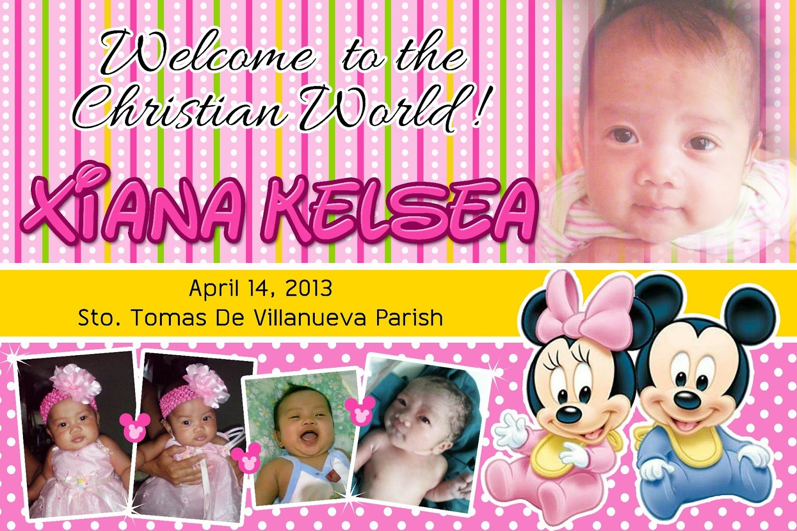 Happy Pig Designs  Christening Baby Minnie & Mickey Mouse Theme