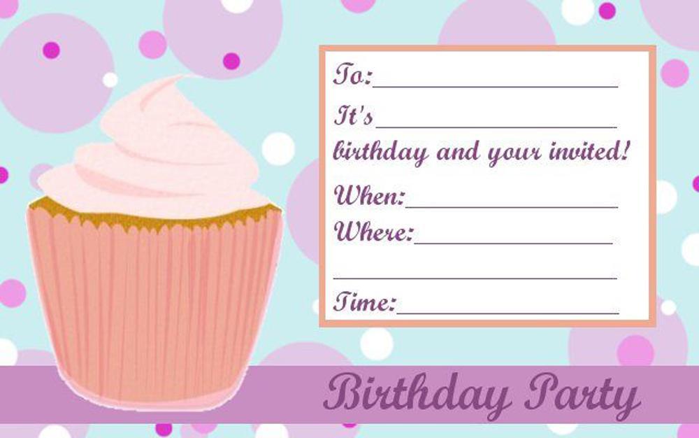 Teen Birthday Party Invitations Cupcake For Girls Beautiful Free