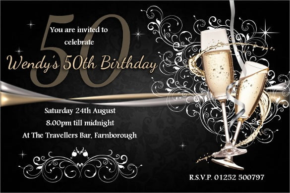 Th Birthday Invitation Templates Free Sample Example Fiftieth