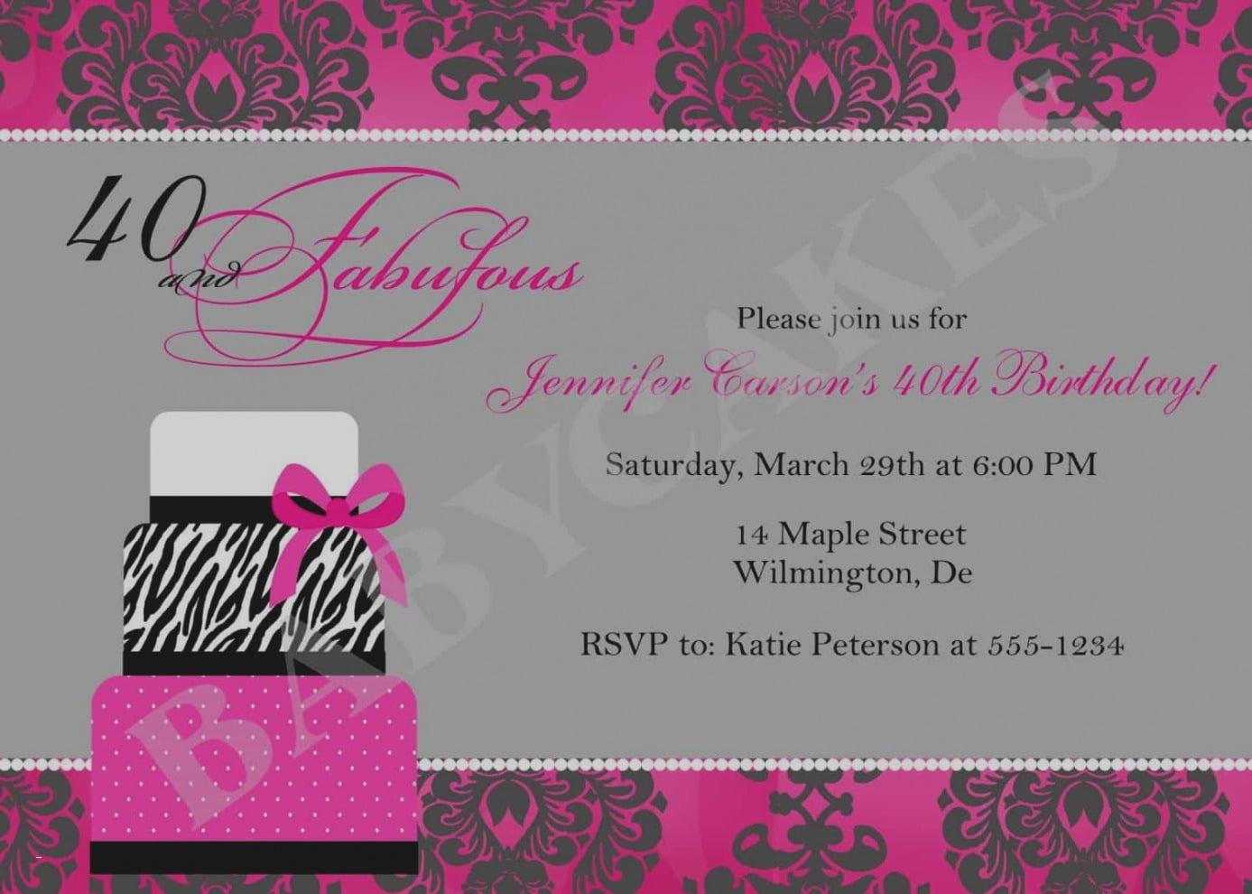 Free 40th Birthday Party Invitation Templates Simple Fresh Bday