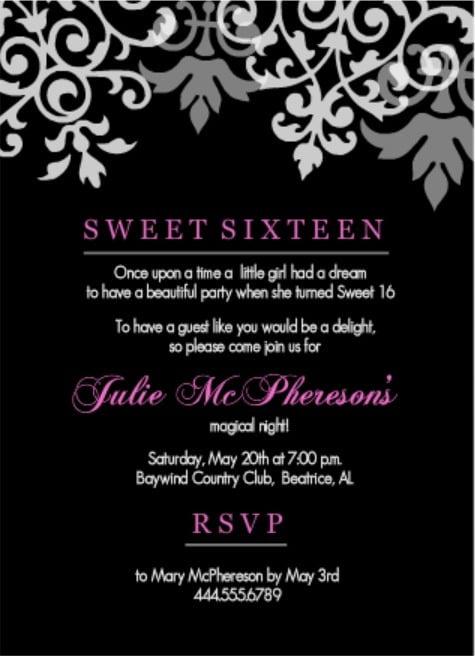 Th Birthday Invitation Wording Great Sweet 16 Birthday Invitations