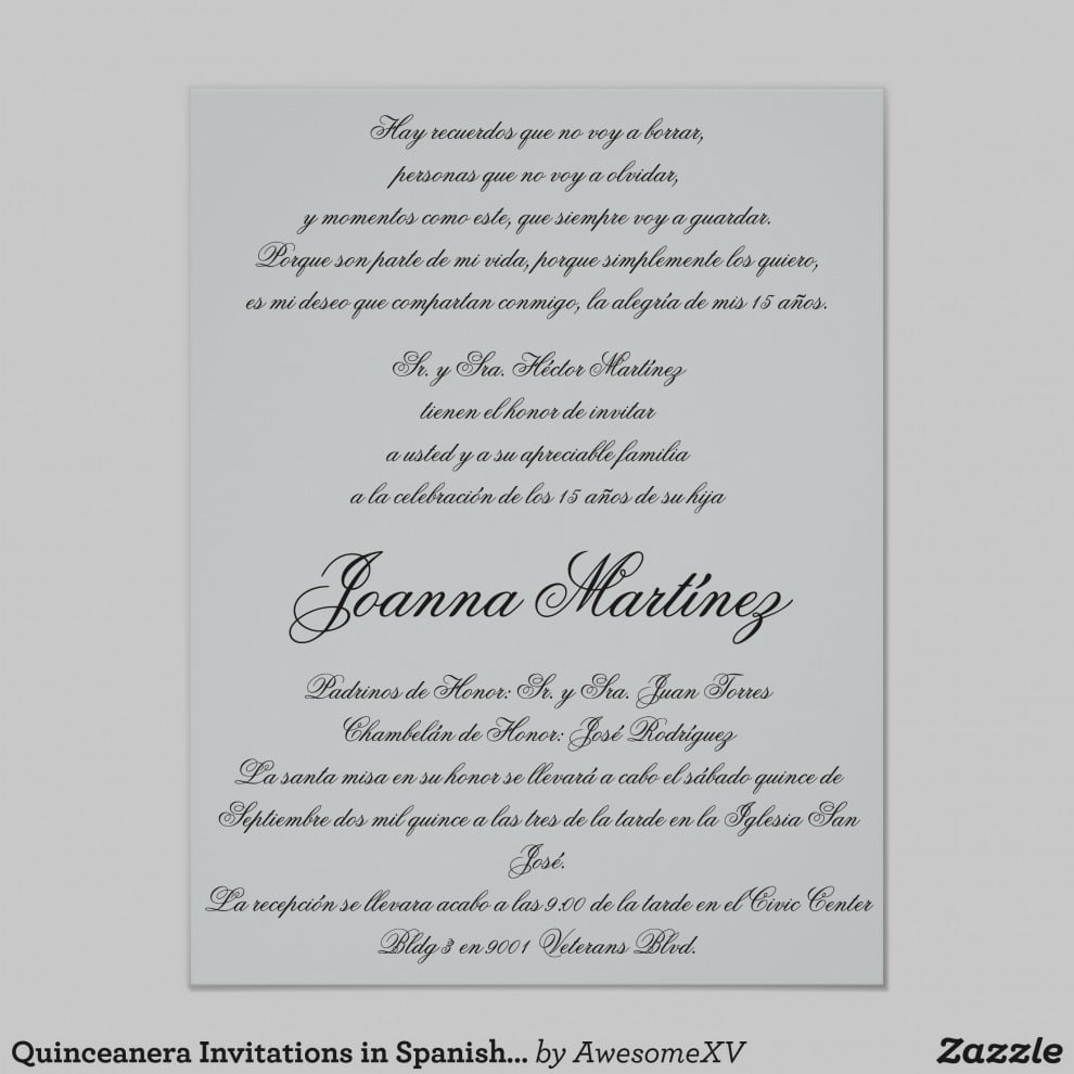 Trend Quinceanera Invitations In Spanish 4 25 X 5 Becky S Quince