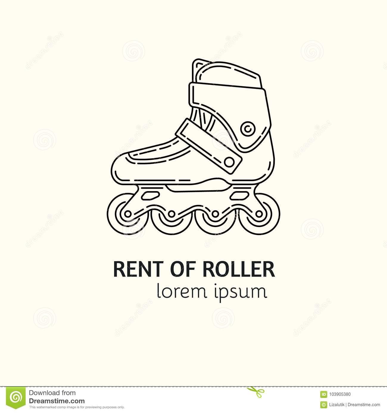 Modern Linear Style Rental Of Roller Skates Logotype Template