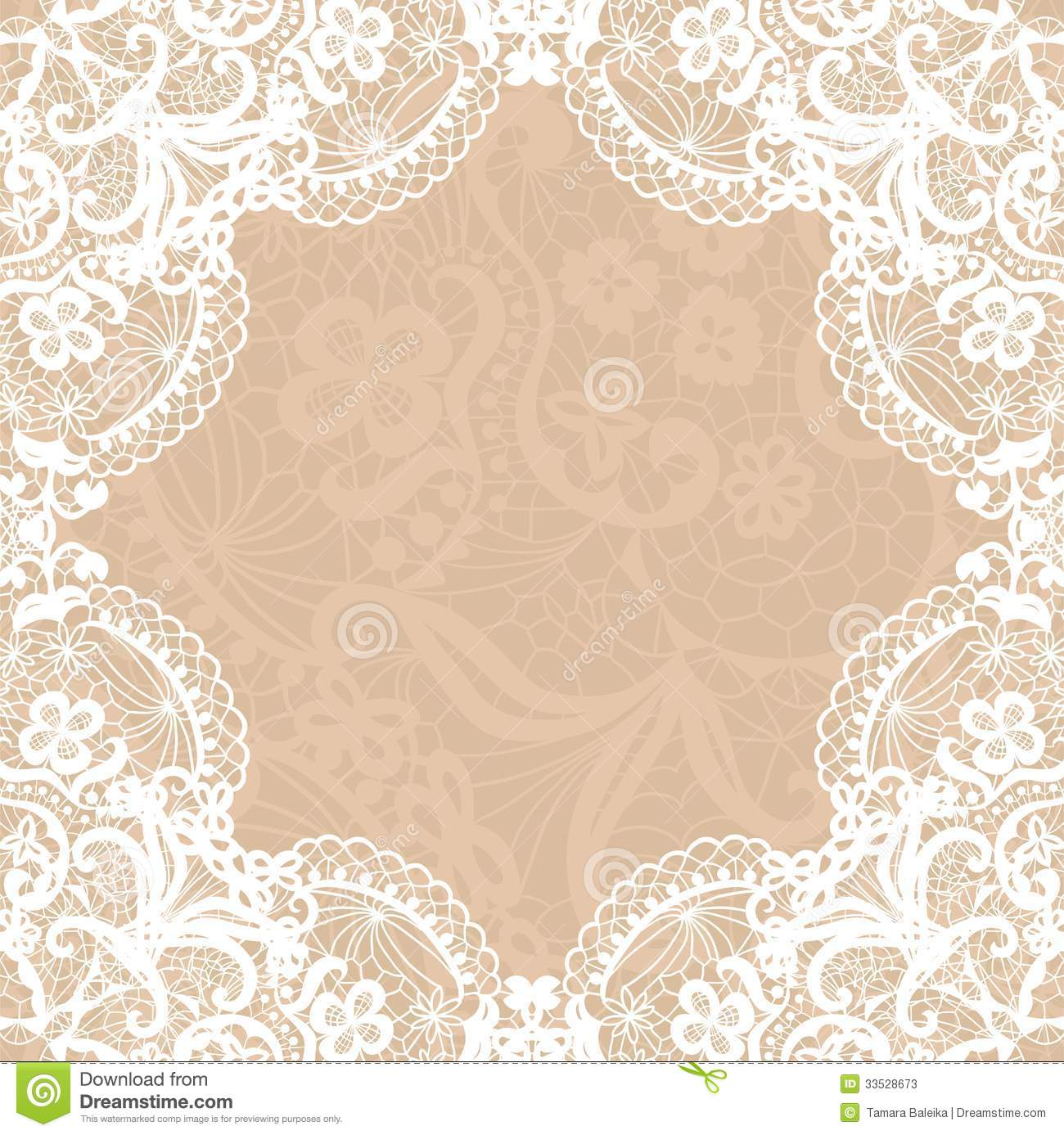 Vintage Lace Invitation Card  Stock Vector