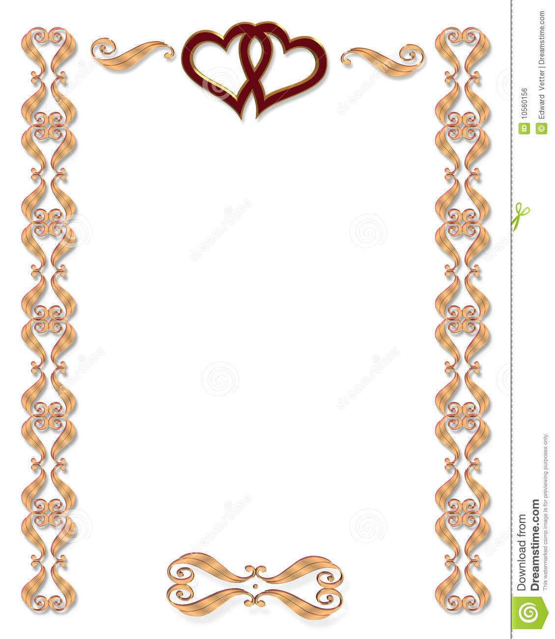 Wedding Invitation Border Gold Stock Illustration