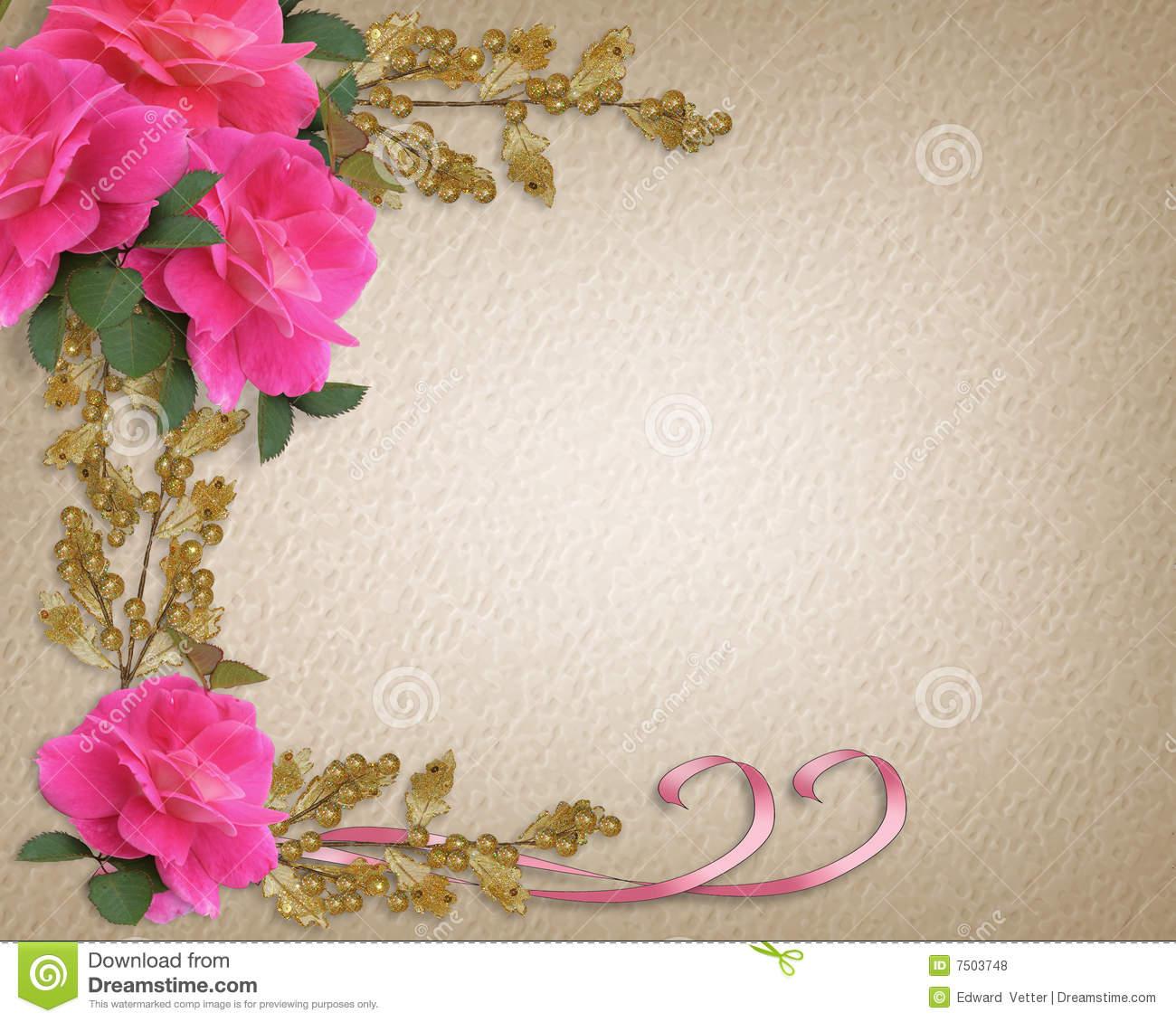 Wedding Invitation Border Pink Roses Illustration 7503748