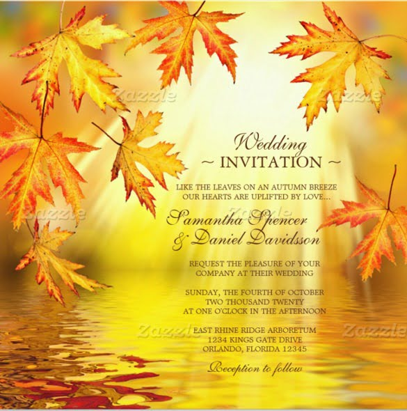 Fall Themed Wedding Invitations: Free Fall Invitation Templates