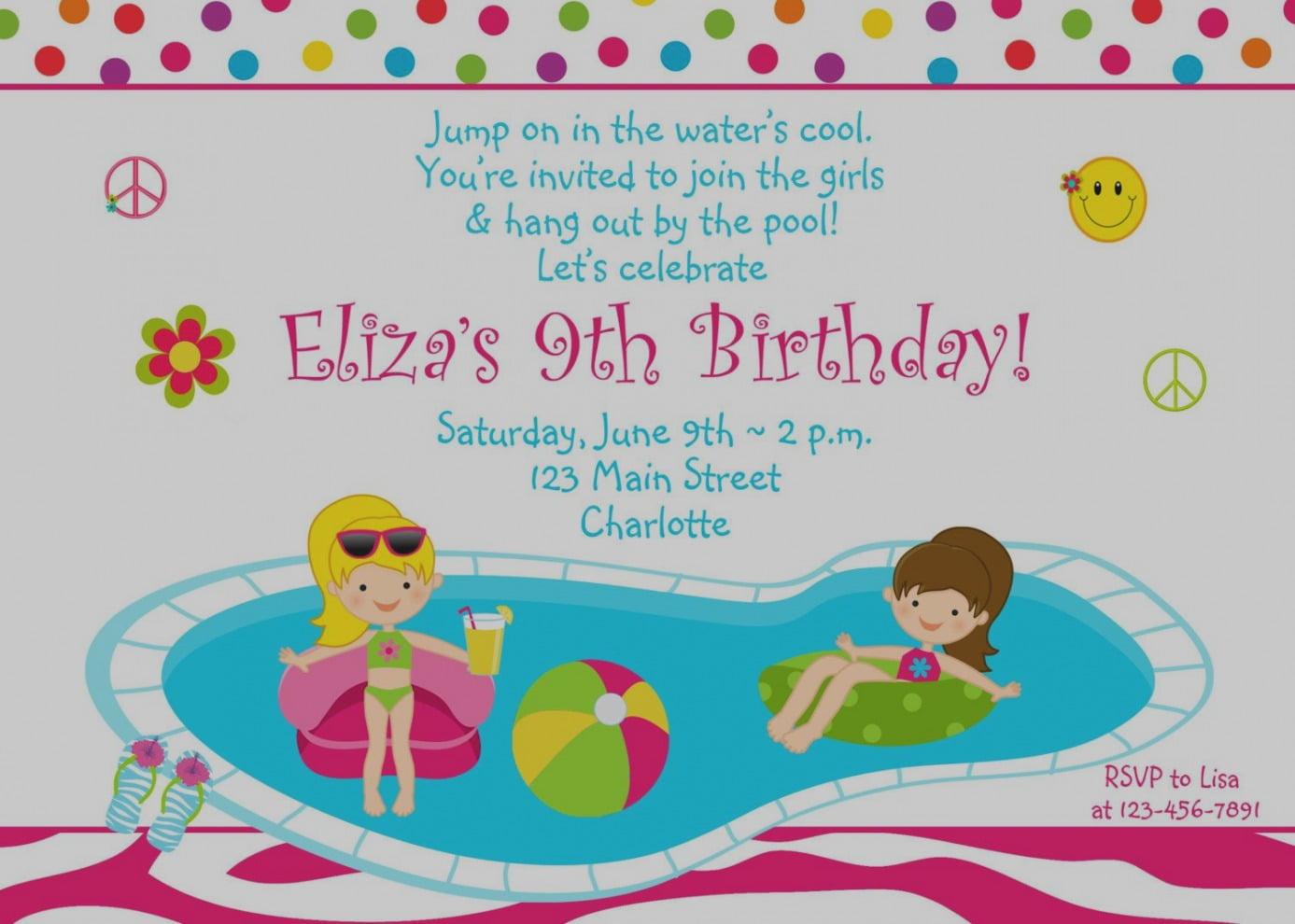 Amazing Pool Party Birthday Invitations Nice Free Template