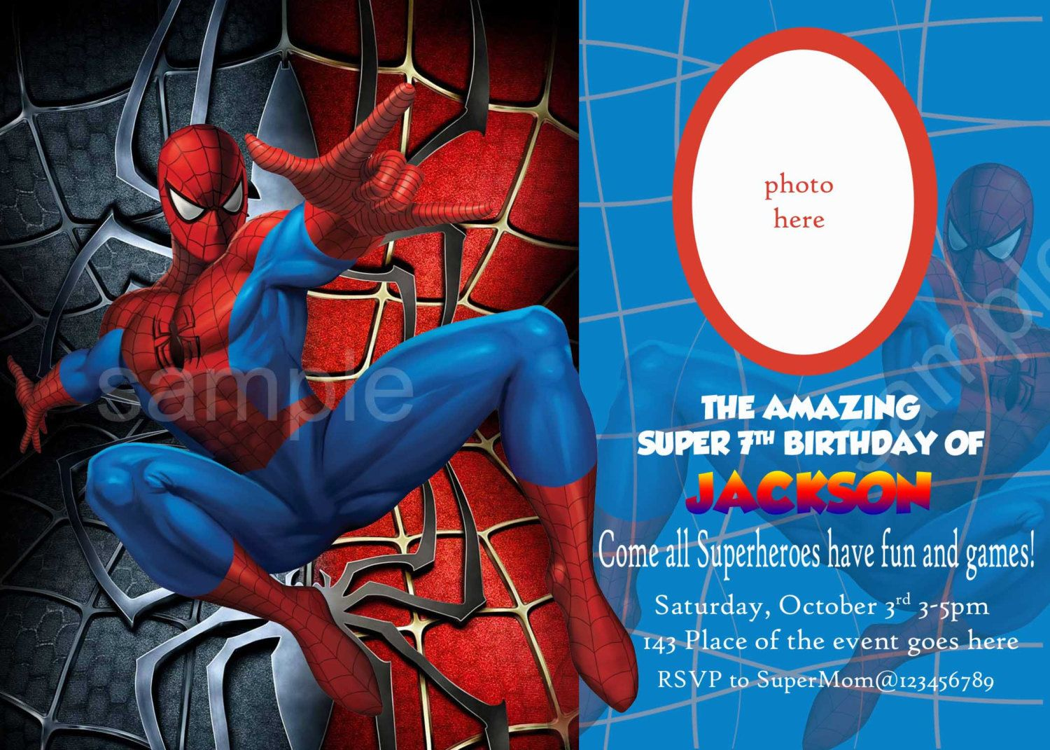 Blank Spiderman Invitations – Invitetown
