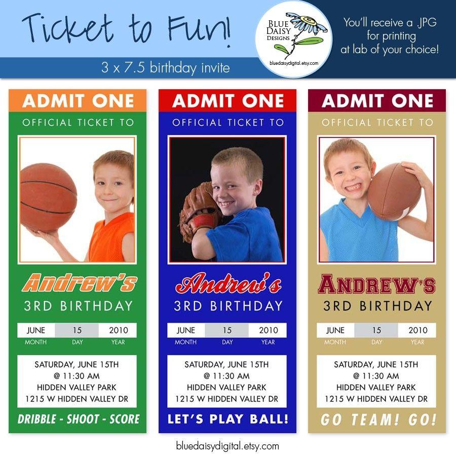 Sports Ticket Birthday Invitation Template Free
