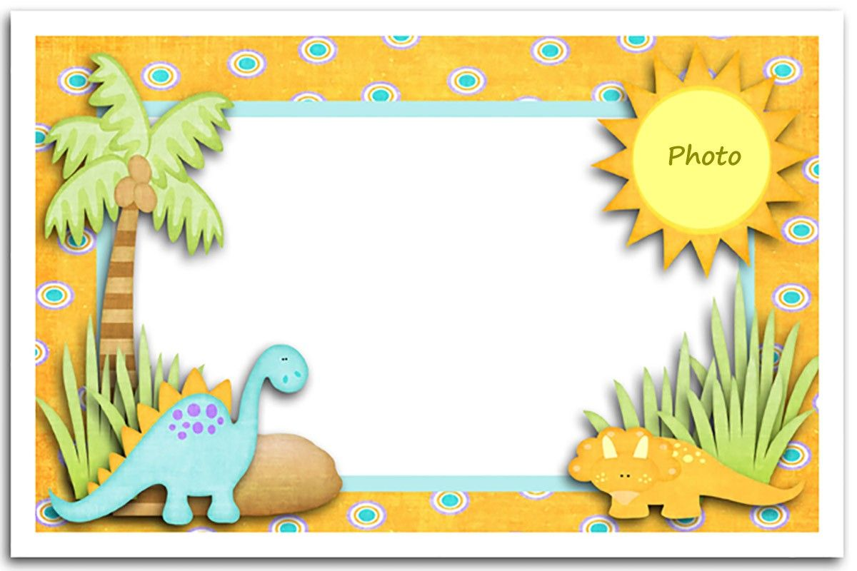 Editable Dinosaur First Birthday Invitation Card