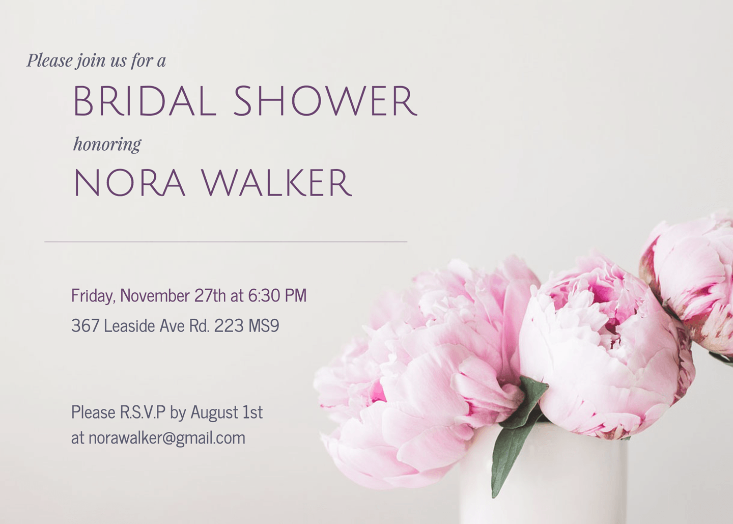 Peonies Bridal Shower Invitation Template