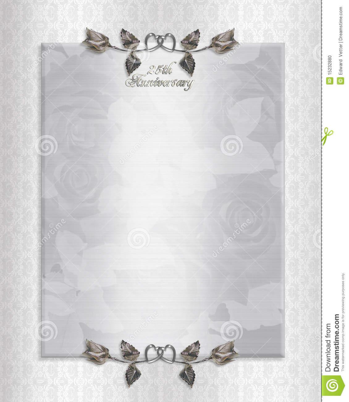 25th Silver Anniversary Invitation Stock Illustration