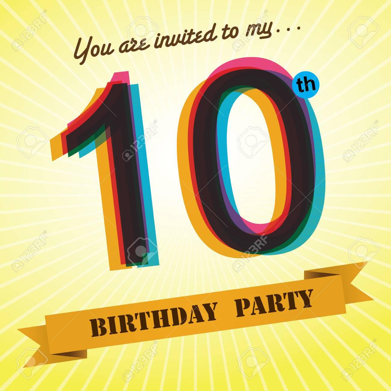 10th Birthday Party Invite Template Design Retro Style