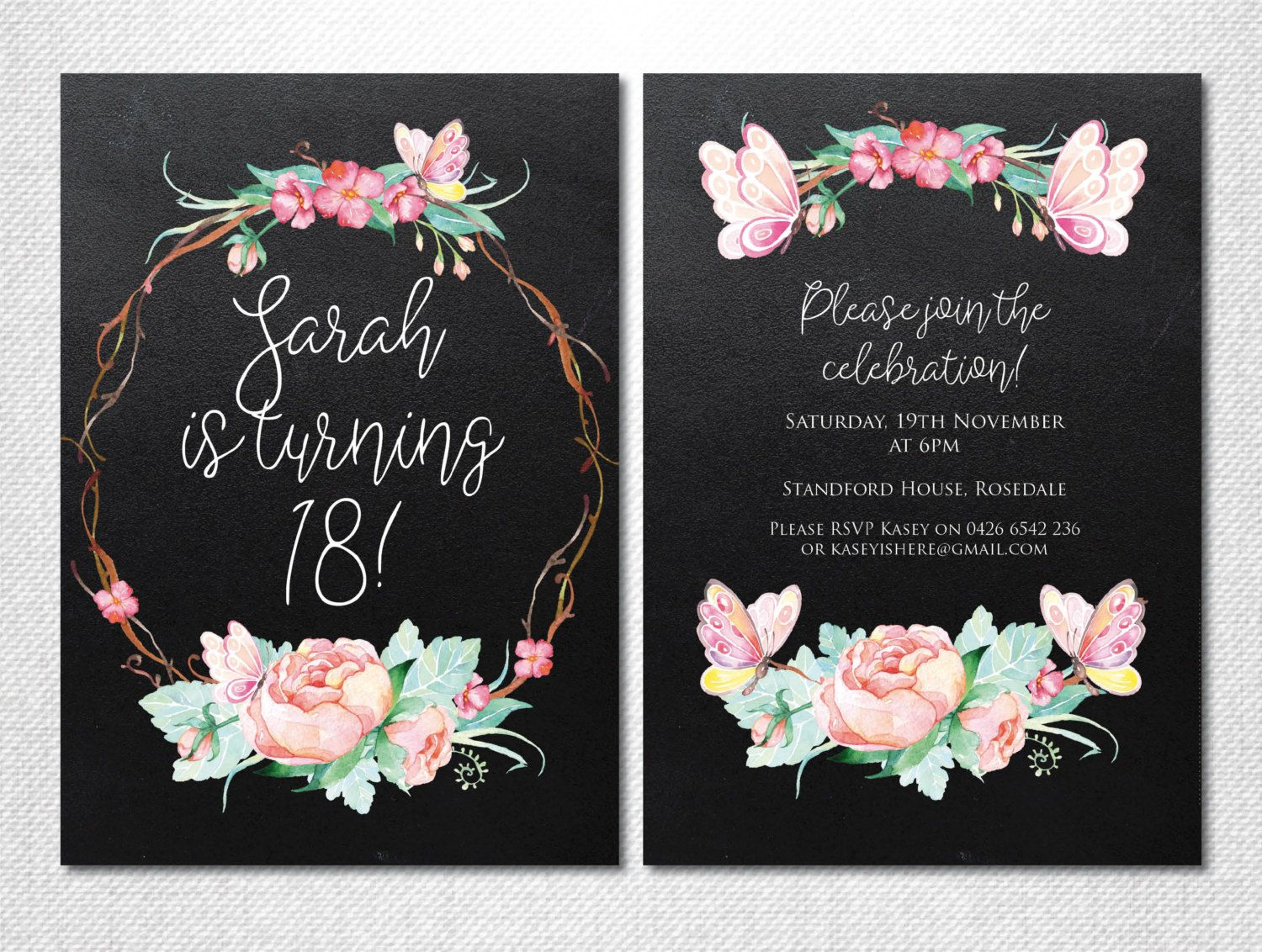 Floral Invitation ~ 18th Birthday Party ~ Butterfly Invitation
