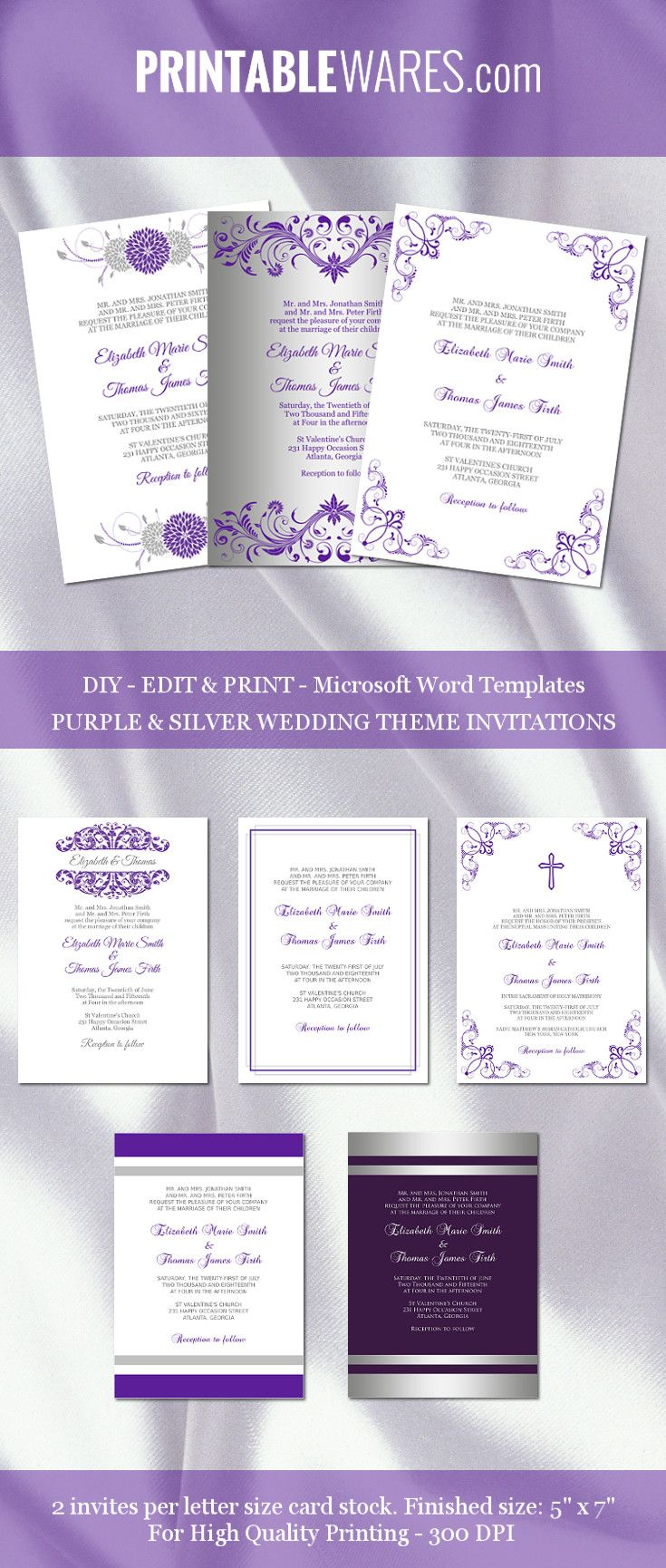 Purple And Silver Wedding Invitation Templates For Microsoft Word