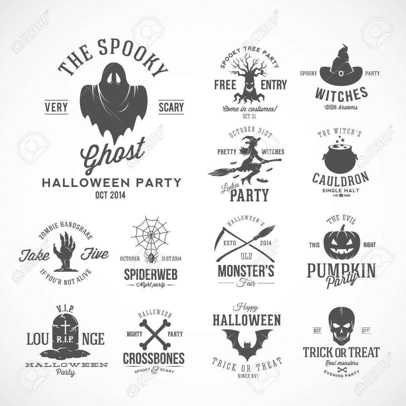 Vintage Halloween Vector Badges Or Labels Templates  Witch, Ghost