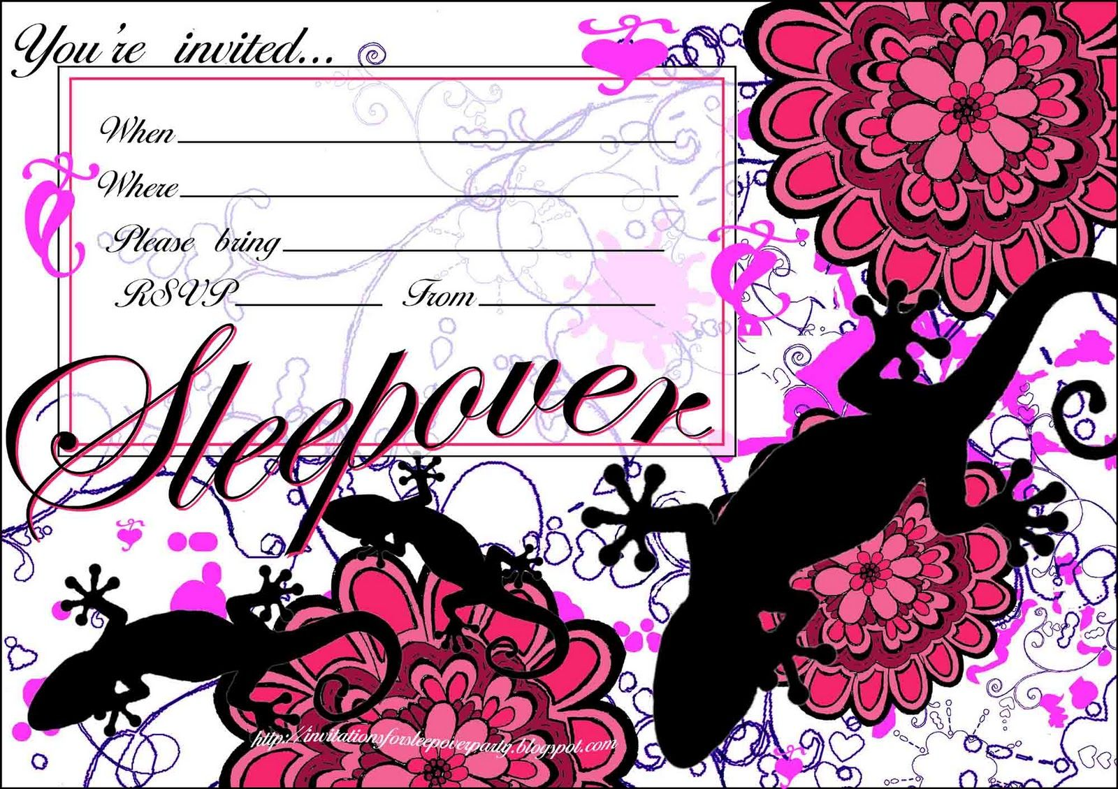 Invitations For Sleepover Party  Teen Sleepover Invitation