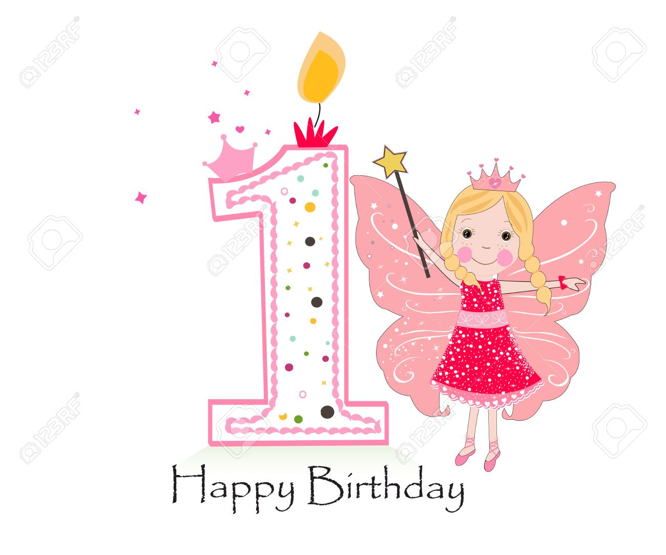 Happy First Birthday Candle  Baby Girl Greeting Card With Fairy