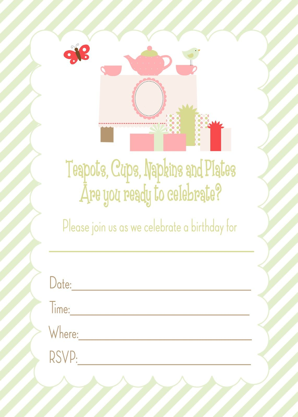 Free Printable Tea Party Birthday Invitation, Go To Www Likegossip