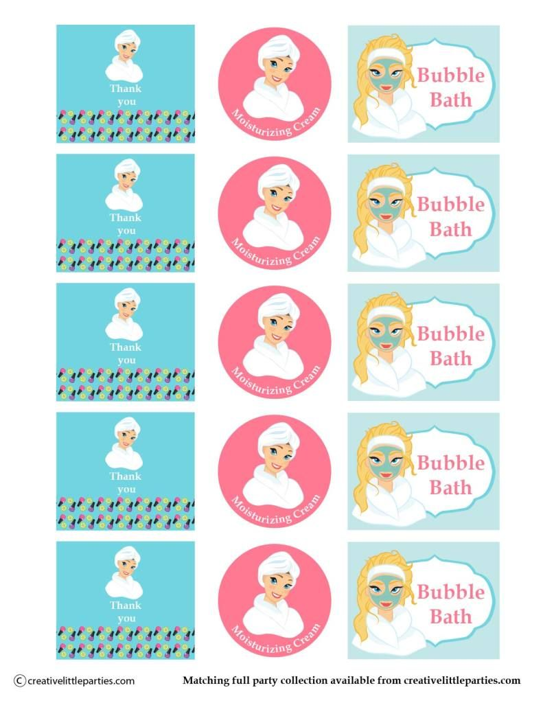 Spa Party Gift Bag Free Printable Bottle Labels  Spaparty