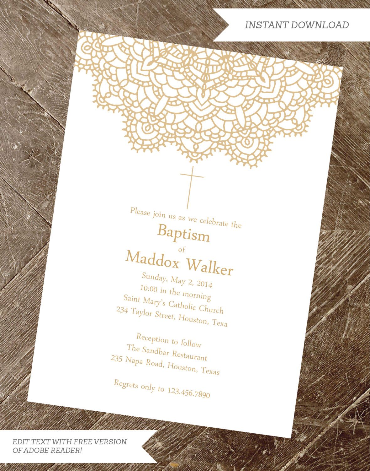 Baptism Invitation, Christening Invite, Girl Baptism, Boy Baptism