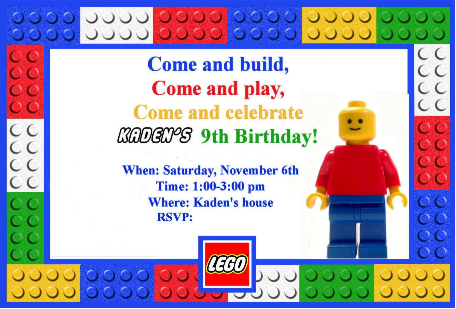 Dazzling Fabulous Colorful Lego Party Invitation Template For Kids