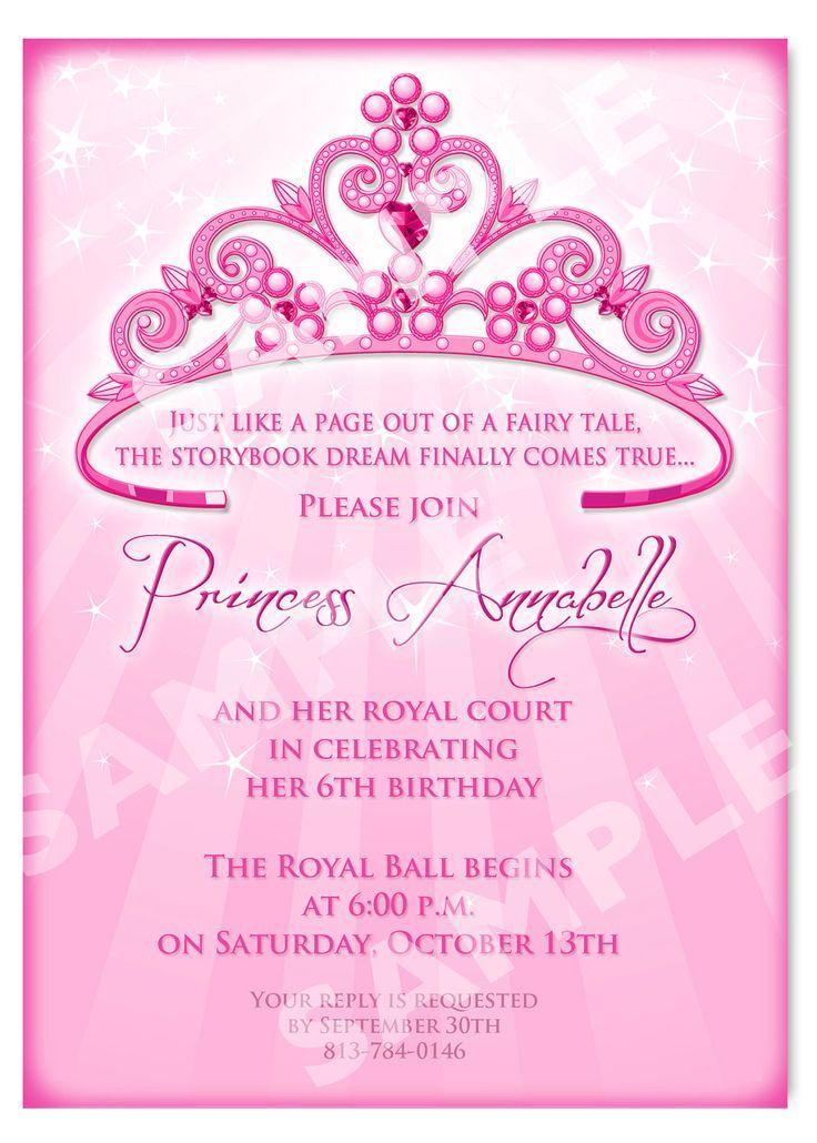 Royal Invitation Wording Princess Party Princess Birthday Princess
