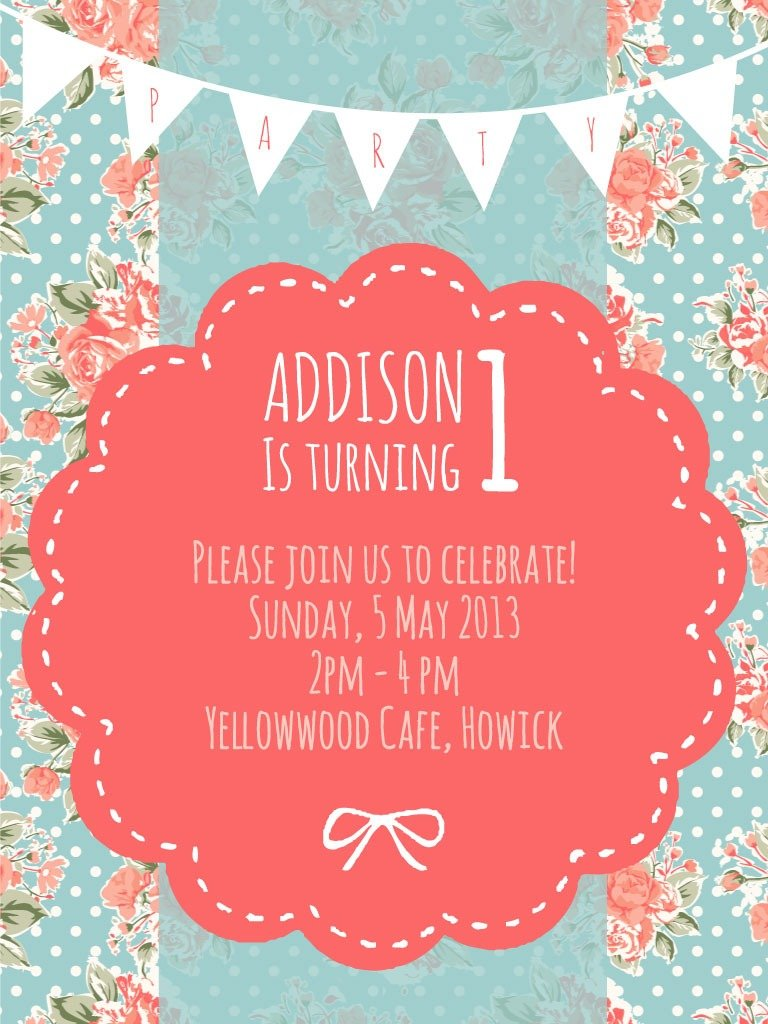 Addi's 1st Birthday Party – Invitation Design – Clever Bird Banter