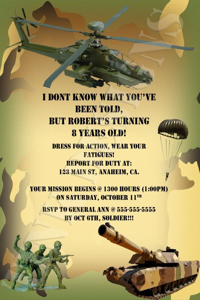 Army Birthday Party Invitation Awesome Military Party Invitations