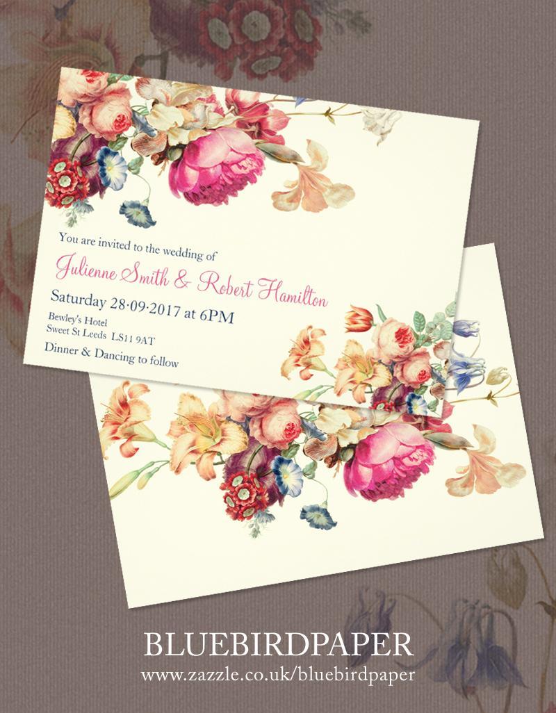 Antique Garden A Floral Vintage Wedding Invitations  2460316