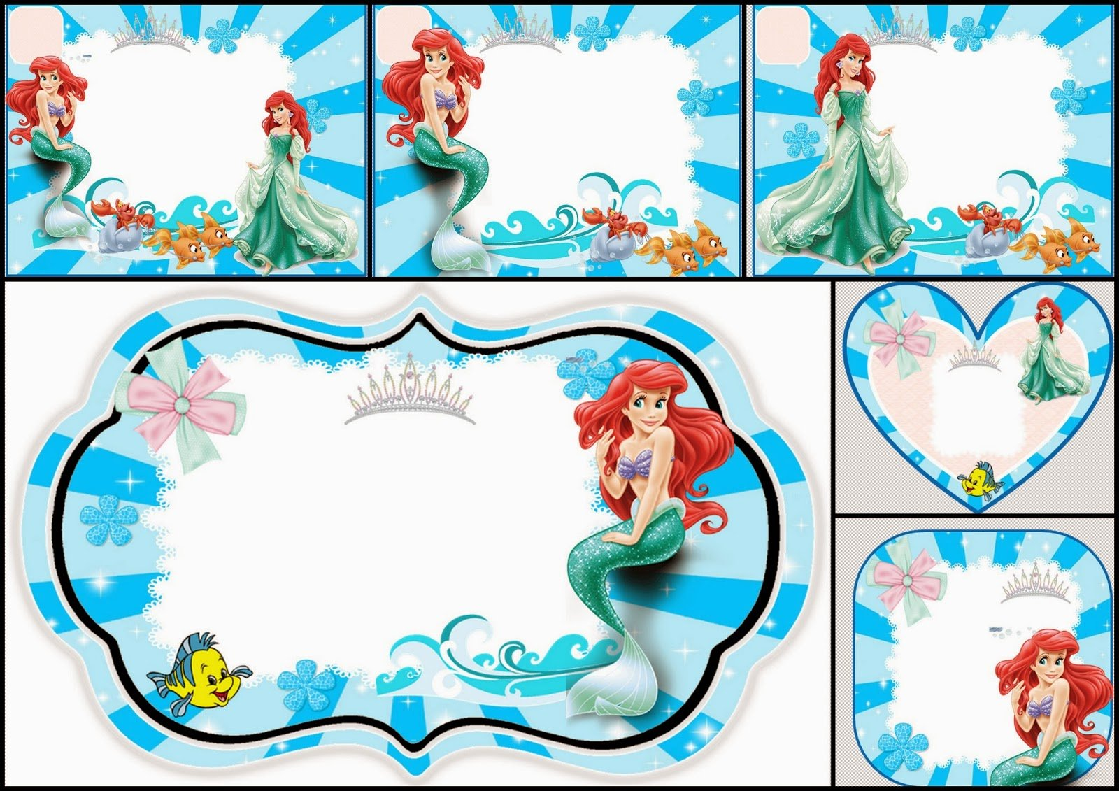 The Little Mermaid Free Printable Invitations, Cards Or Photo