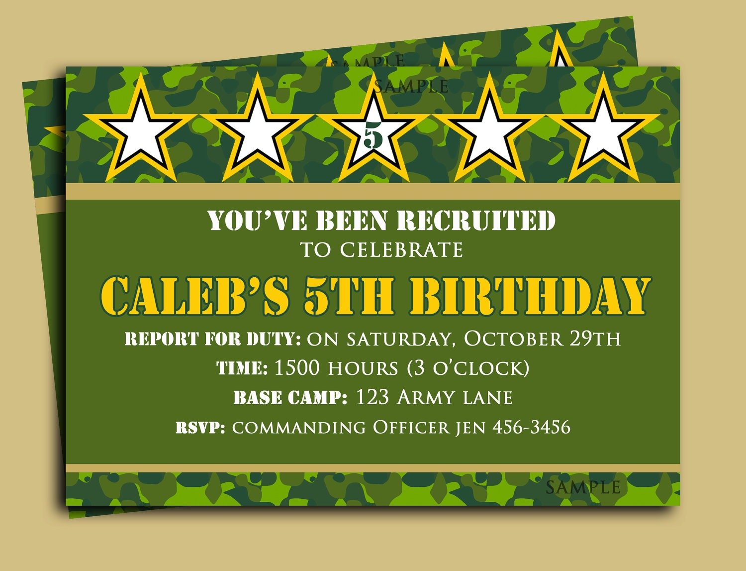 Invitation Template  Army Birthday Invitations Free Printable