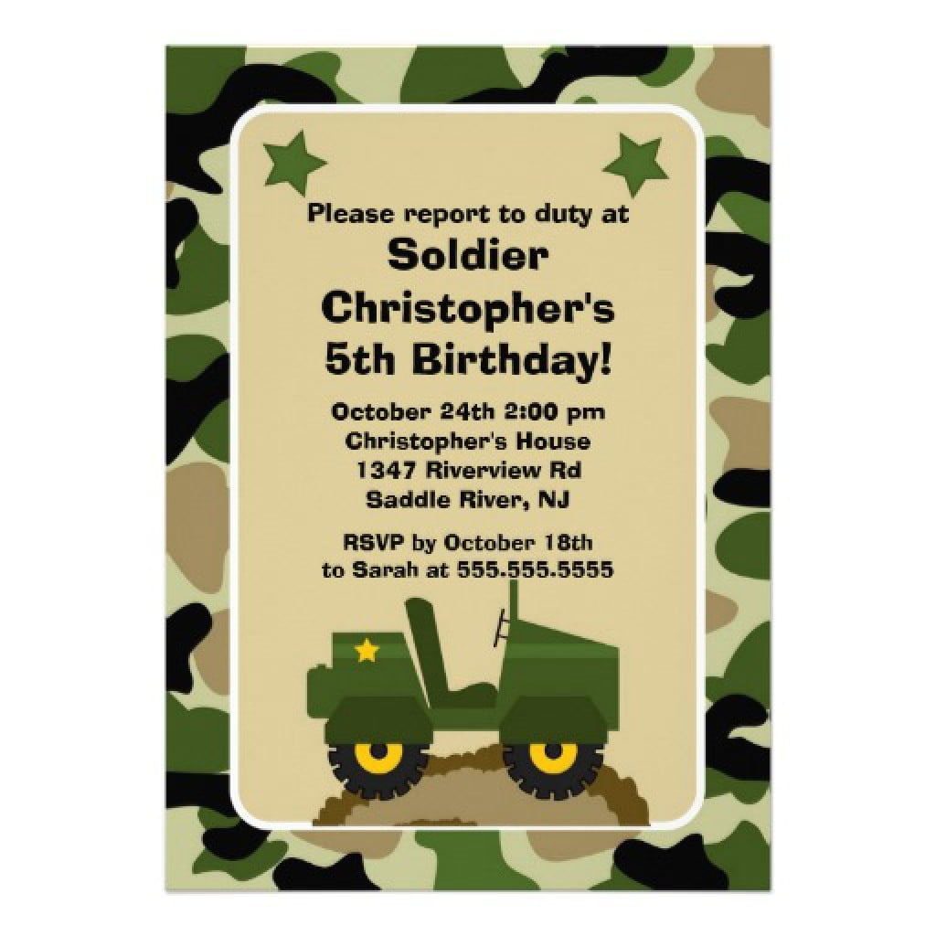Invitation  Army Birthday Invitation Template