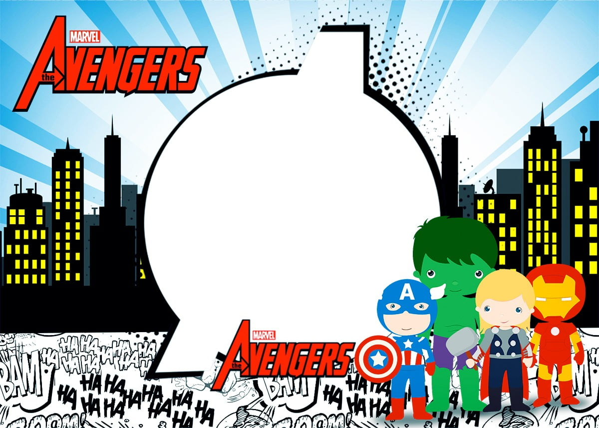 Avengers Chibi Style  Free Printable Invitations