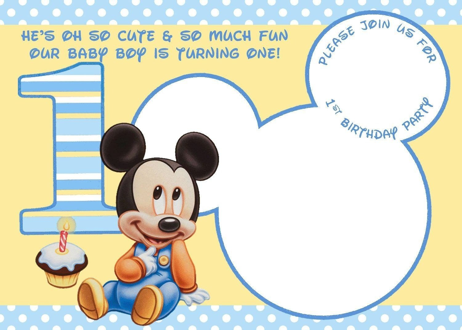 Baby Mickey Mouse Invitations Fast Lunchrock Co Within Baby Mickey
