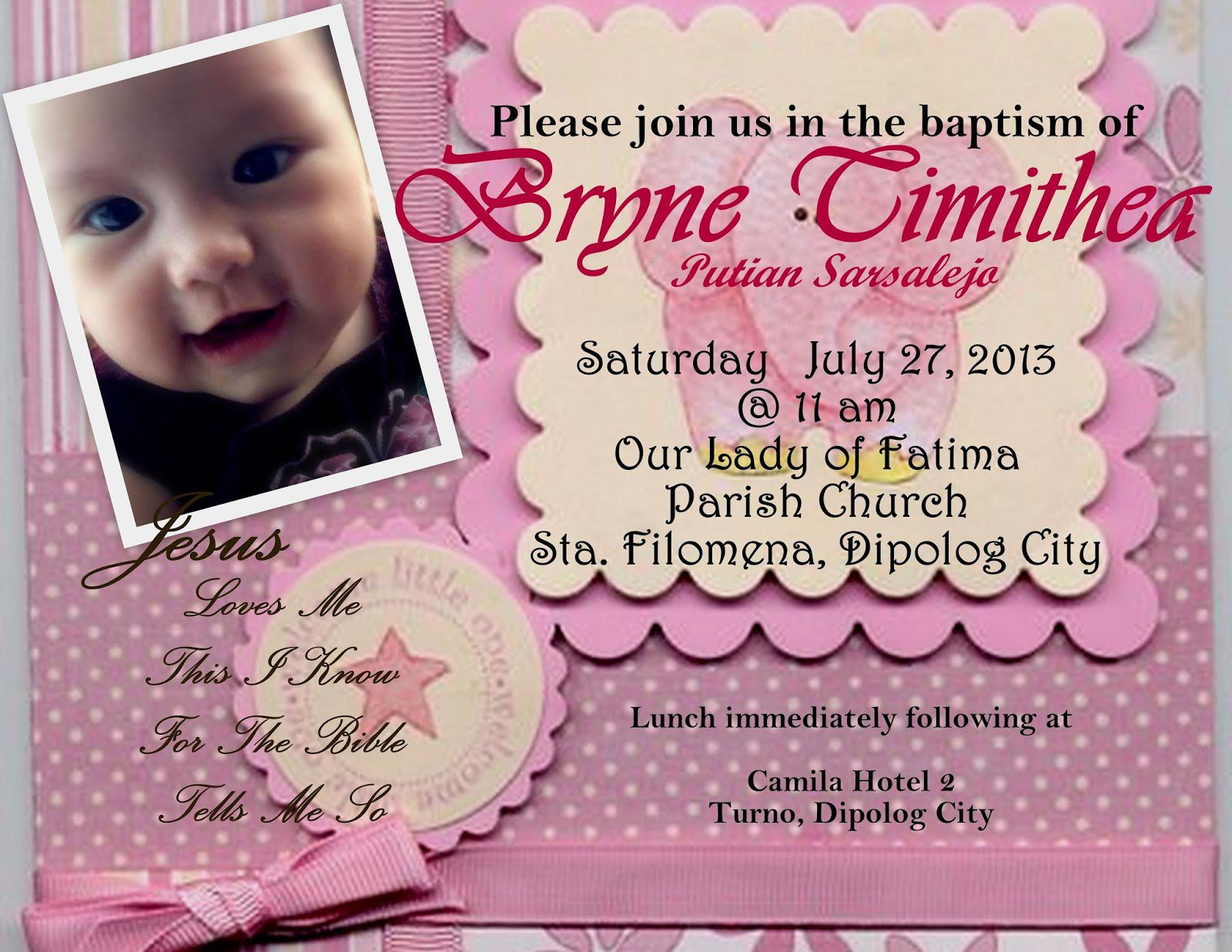 Baptism Invitation Cards Sample Pic On Baptism Invitation Card